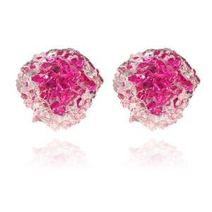PREVIEW Pink Druzy Resin Crystal Stud Earrings